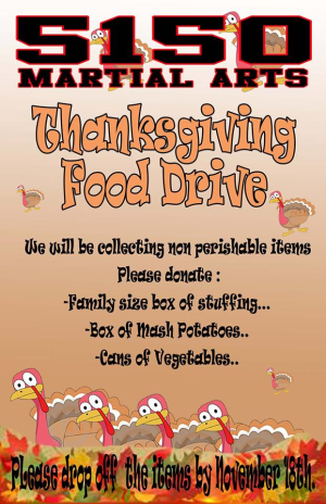 in Nyack  - 5150 Martial Arts - Thanksgiving Food Drive at 5150 Martial Arts in Nyack,NY