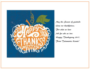 Kids Karate in San Antonio - Talamantez Karate - Happy Thanksgiving From Talamantez Karate!