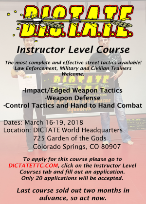 Kids Martial Arts in Colorado Springs  - Dictate Tactical Training Center - 40% Off DICTATE Level 1 Instructor Course Christmas Gift Certificate