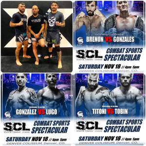 "#FIGHTWEEK for Derek ""Switch"" Brenon (#featherweightchampionship), Phil Gonzalez and Jordan Titoni!!!!!!!! Sparta Combat League fights start at 5pm Saturday at the Denver Coliseum! Fights will be streamed on SCL's Facebook page!"