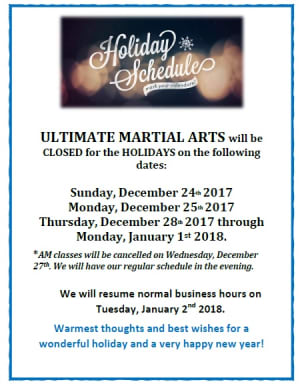 Kids Martial Arts in Chicago - Ultimate Martial Arts - Holiday Schedule