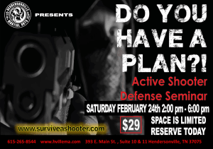 in Hendersonville - Hendersonville Martial Arts - Active Shooter Defense Seminar coming up on February 24th