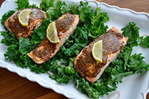 Recipe of the week: uploadedHoney Mustard Salmon & Kale