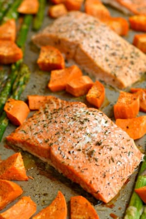 Personal Training in Concord - Individual Fitness - One Pan Baked Salmon Asparagus & Sweet Potato