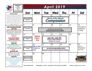 Kids Martial Arts  near  Aurora - National Martial Arts Academy - April 2019 Calendar