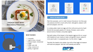 BFP Weekly Recipe- French Toast With Avocado And Fried Egg