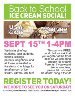 in Pittsburgh - USA Professional Karate Studio - Back To School Ice Cream Social