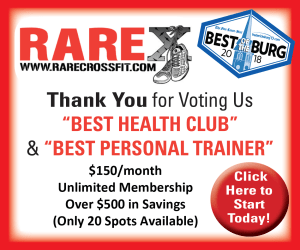 "Thank You for Voting Us ""Best Health Club"" and ""Best Personal Trainer"" in Fredericksburg- RARE CrossFit Fredericksburg, Spotsylvania, and Stafford's premier CrossFit Facility!"