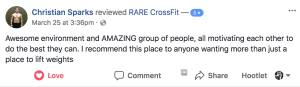 Check out this review of RARE CrossFit, Fredericksburg, Spotsylvania, and Stafford's premier CrossFit Facility!