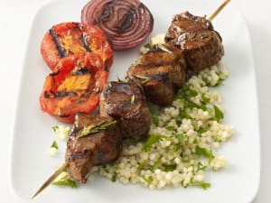 Grass Fed Beef Skewers with Tomato and Cucumber Couscous