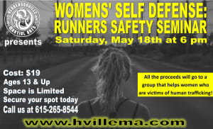 HMA is hosting a Runner Safety Seminar for Women in Hendersonville and Gallatin on May 18th!