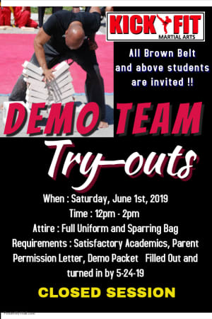 Kickfit Demo Team Auditions -  Taekwondo for Kids Event
