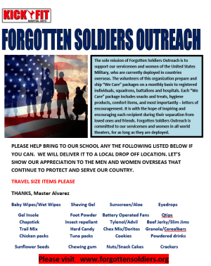 Kickfit Martial Arts Supports our Troops Overseas - Cooper City / Davie