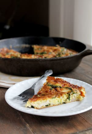 Leftover-Turkey Frittata with Spinach and Mozzarella Cheese
