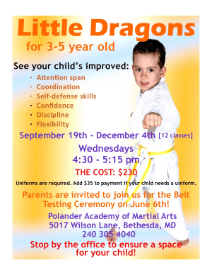 in Bethesda - Polander Academy Of Martial Arts - Little Dragon Classes age 3-5 Fall Session Forming Now