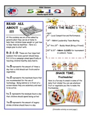 March/April 2018 Kidz Korner Newsletter
