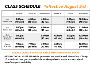New Class Schedule - Designed for Maximum Safety & Flexibility!