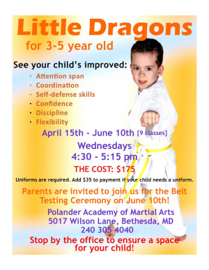 New Little Dragon Classes (age 3-5) Spring Session forming now!