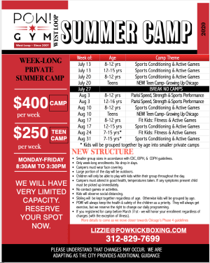 POW! Summer Camps Info with Changes