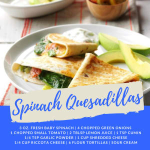 Recipe of the Week: Spinach Quesadillas
