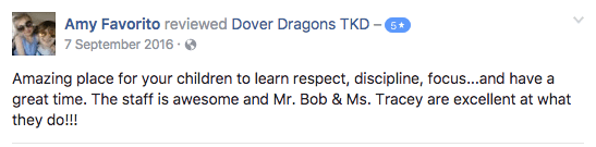Dover Dragons Tae Kwon Do Amy Favorito