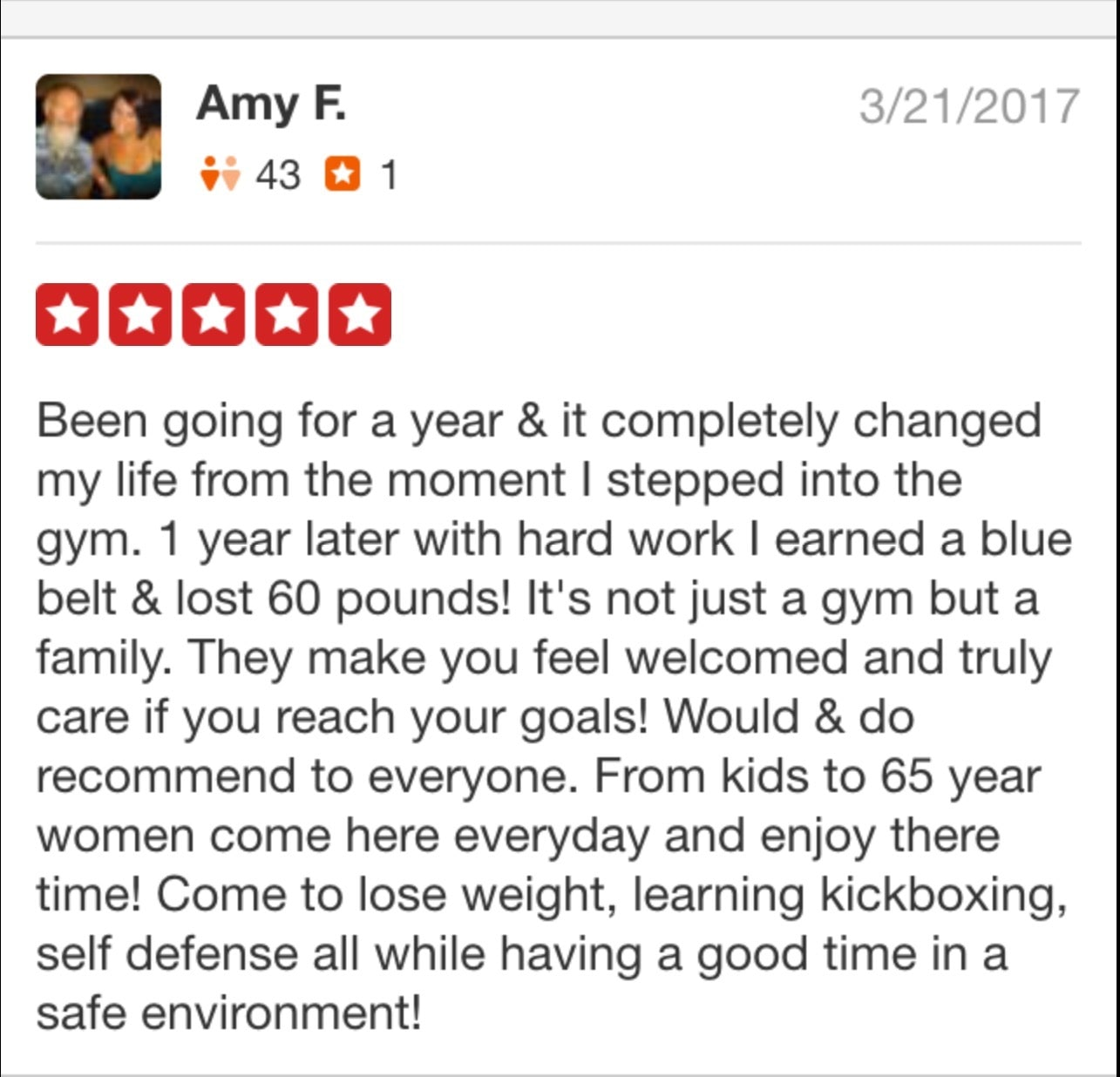 Amy, Roufusport Martial Arts Foley testimonials
