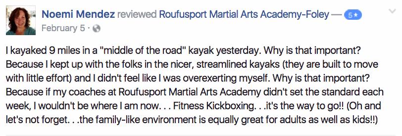 Noemi , Roufusport Martial Arts Foley Testimonials