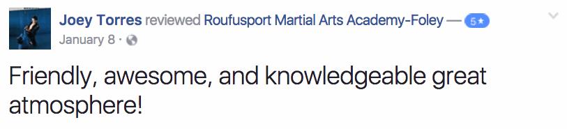 Joey, Roufusport Martial Arts Foley Testimonials