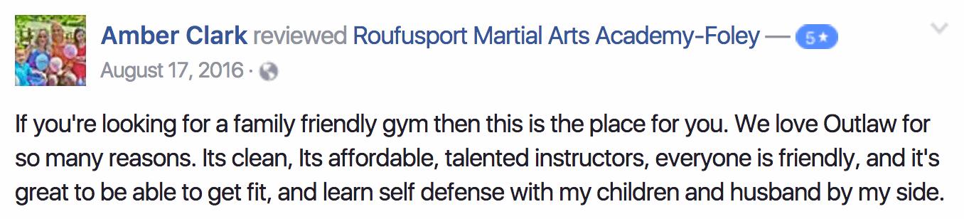 Amber, Roufusport Martial Arts Foley Testimonials