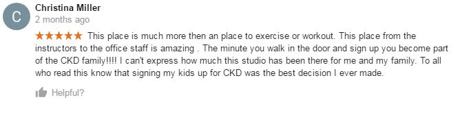 Christina Miller, CKD Martial Arts Of Kennesaw Testimonials