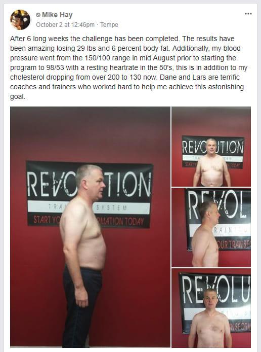 Mike Hay, Revolution Training System Testimonials