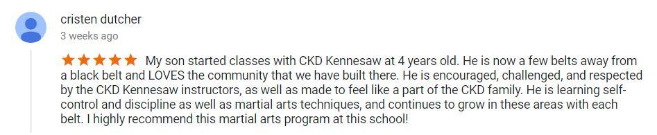 Cristen Dutcher, CKD Martial Arts Of Kennesaw Testimonials