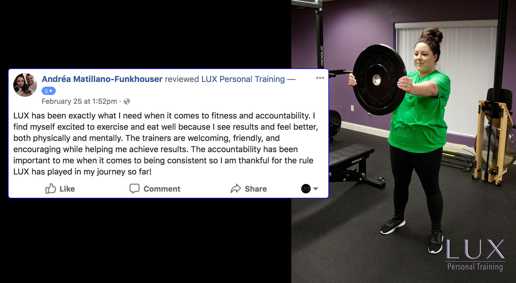 Andrea, LUX Personal Training Testimonials