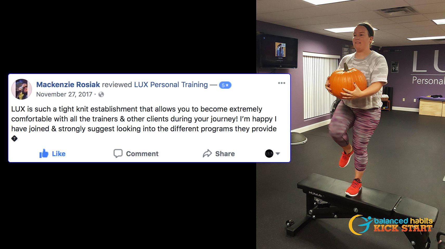 Mackenzie, LUX Personal Training Testimonials