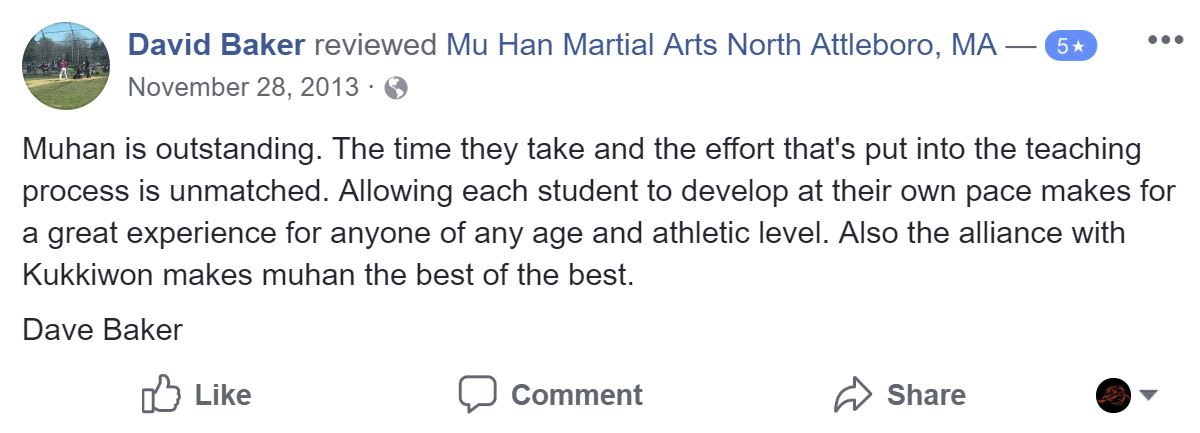 David Baker , Mu Han Total Martial Arts Testimonials
