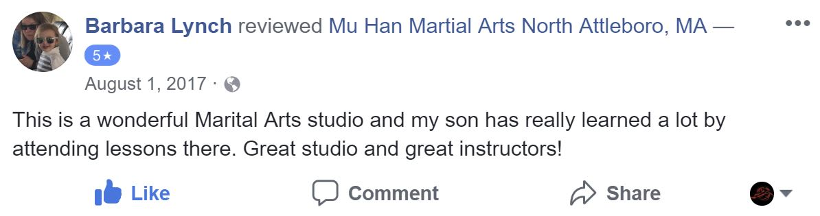 Barbara Lynch, Mu Han Total Martial Arts Testimonials