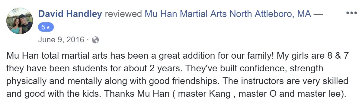 David Handley, Mu Han Total Martial Arts Testimonials