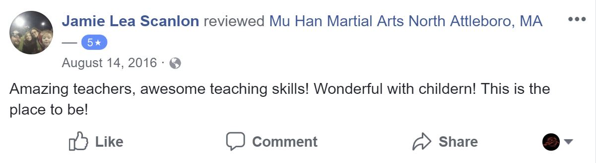Jamie Lee Scanlon, Mu Han Total Martial Arts Testimonials