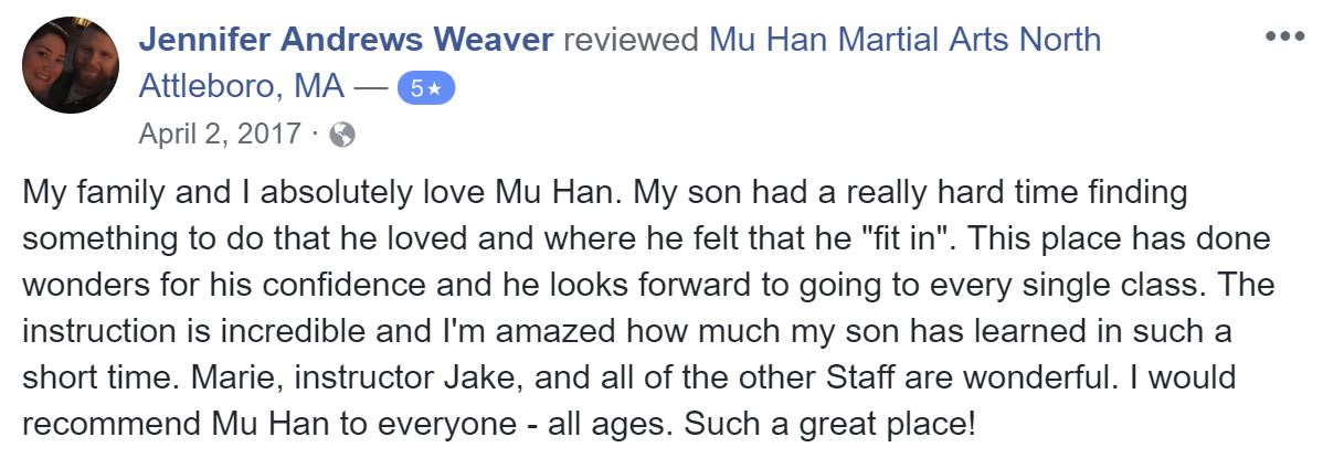 Jennifer Andrews Weaver, Mu Han Total Martial Arts Testimonials