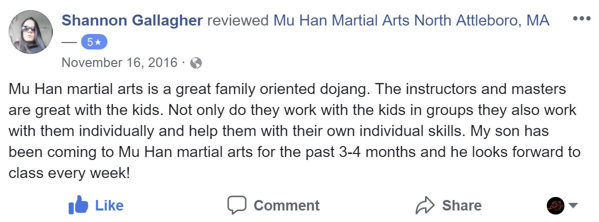 Shannon Gallagher, Mu Han Total Martial Arts Testimonials