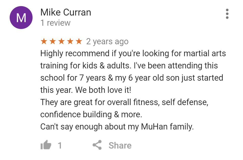 Mike Curran, Mu Han Total Martial Arts Testimonials