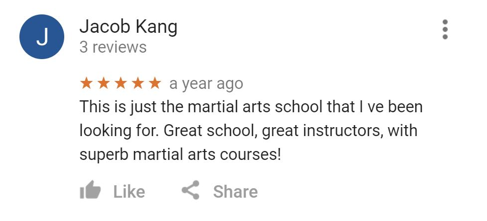 Jacob Kang, Mu Han Total Martial Arts Testimonials