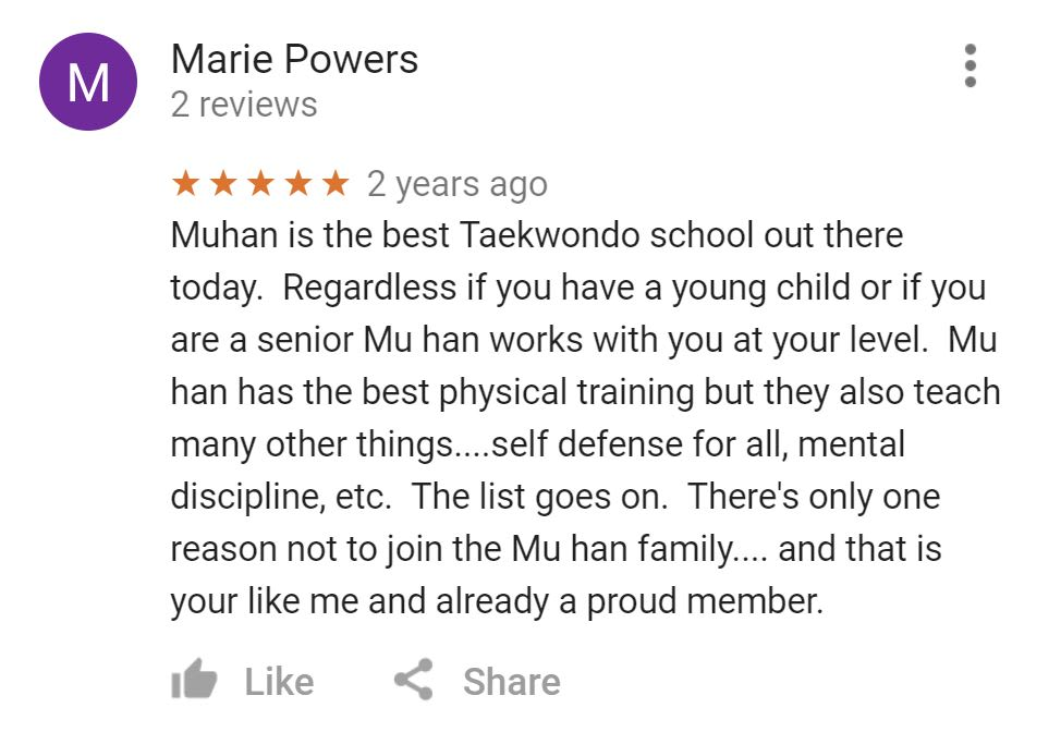 Marie Powers, Mu Han Total Martial Arts Testimonials