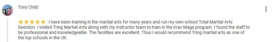 Tony Child, Tring Martial Arts Testimonials