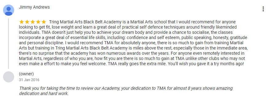 Jimmy Andrews, Tring Martial Arts Testimonials