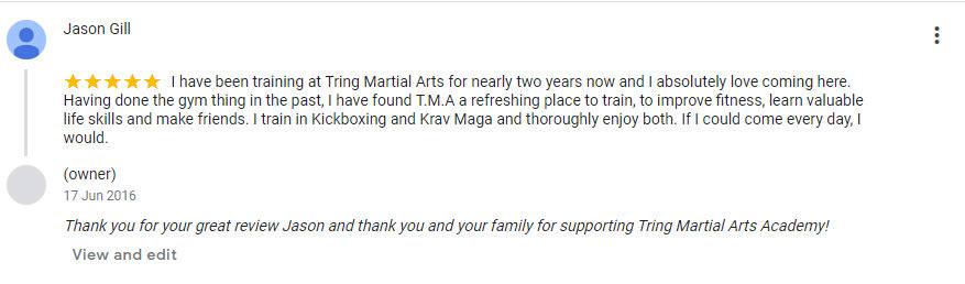 Jason Gill, Tring Martial Arts Testimonials