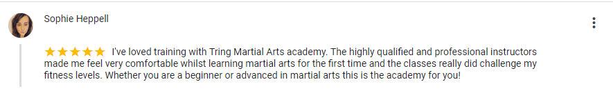 Sophie Heppell, Tring Martial Arts Testimonials