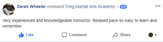 Derek Wheeler, Tring Martial Arts Testimonials