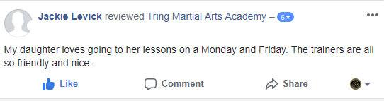 Jackie Levick, Tring Martial Arts Testimonials