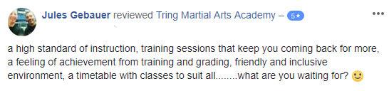 Jules Gebauer, Tring Martial Arts Testimonials